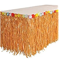 BOSHENG Natural Color Grass Table Skirt,Hula Hibiscus Tropical Birthday Summer Pool Party Supplies