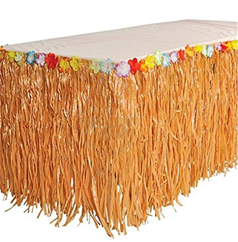 BOSHENG Natural Color Grass Table Skirt,Hula Hibiscus Tropical Birthday Summer Pool Party Supplies ()