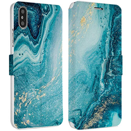 Wonder Wild Cyan Water IPhone Wallet Case X/Xs Xs Max Xr 7/8 Plus 6/6s Plus Card Holder Accessories Smart Flip Hard Design Protection Cover Golden Dust Air Bubbles Soap Foam Sea Ocean Colorful Art