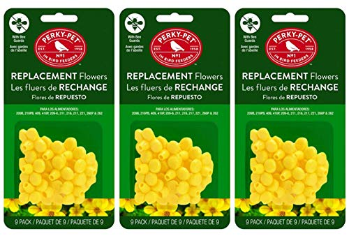 (Perky-Pet 202FB 9 Piece Yellow Hummingbird Feeder Replacement Flowers (Pack of 3))