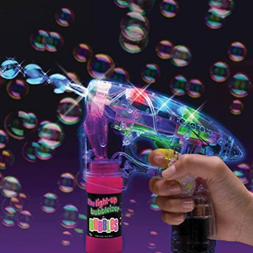Fun Central I484 2-Pack Light Up LED Transparent Bubble Gun Shooter with LED Lights, 3 x AA Batteries, and Extra Bubble Bottles (Wholesale Bubble Guns)