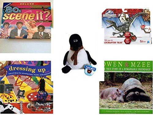 Children's Gift Bundle - Ages 6-12 [5 Piece] - 80'S Scene It? The Deluxe DVD Trivia Game - Jurassic World Velociraptor Blue Figure Toy - Parkway Toys Penguin Plush 9