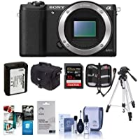 Sony Alpha A5100 Mirrorless Digital Camera Body, - Bundle with Camera Case, 32GB Class 10 SDHC Card, Spare Battery, Full Size Tripod, Cleaning Kit, Screen Protector, Card Case, Software Package