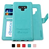 note 2 wallet case - AMOVO Case for Galaxy Note 9 [2 in 1] Samsung Galaxy Note 9 Wallet Case [Detachable Folio] [Vegan Leather] [Wrist Strap] [Card Slot] [Kickstand] Note 9 Flip Case with Gift Box Package (Note 9, Aqua)