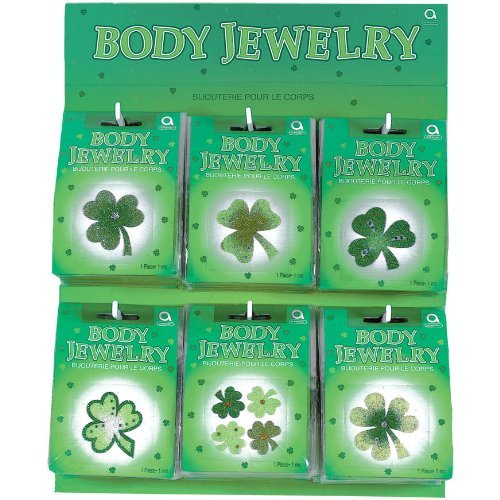 Price comparison product image Amscan Lucky Irish Green St. Patrick's Day Glittered Body Jewelry Assortment Party Accessory, (1 Piece)