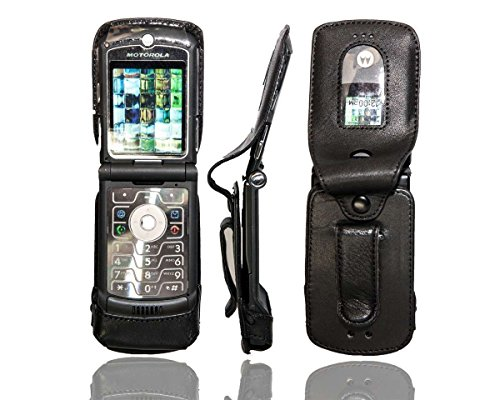 caseroxx Pouch for Motorola RAZR V3m V3c made of real leather with belt-clip in black ()