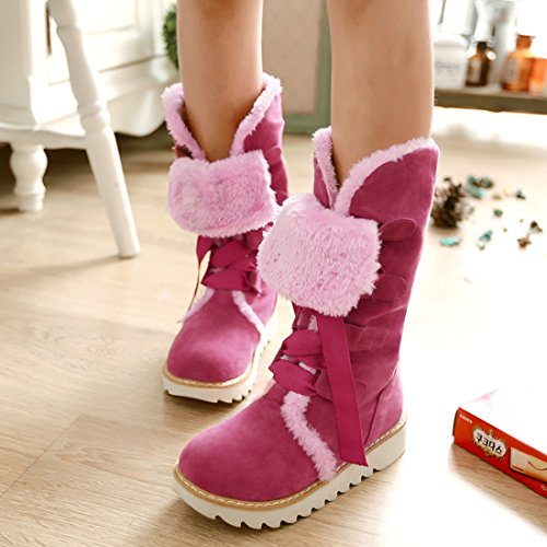 Mid Winter Nubuck Fur Agodor Pink Warm up Faux Shoes Lace Calf Platform Womens With Snow Boots Leather wxqHY6U