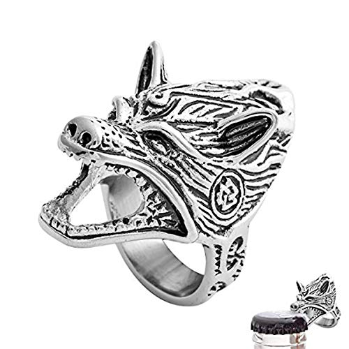 N-BOOMOR Men's Norse Viking Jewelry Wolf Head Gothic Biker Punk Vintagel Beer Bottle Opener Ring for Men Size 8-13 (Silver, 10)