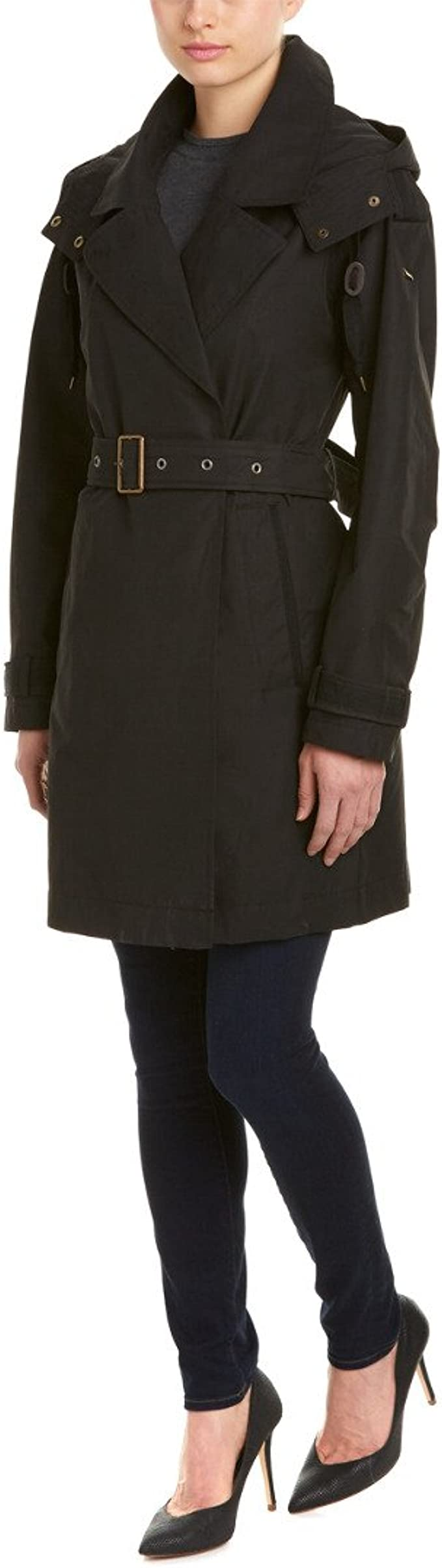 Marc New York by Andrew Marc Womens Mid-Length Belted Trench with Hood Marc New York by Andrew Marc Women/'s Outerwear MW6AC802