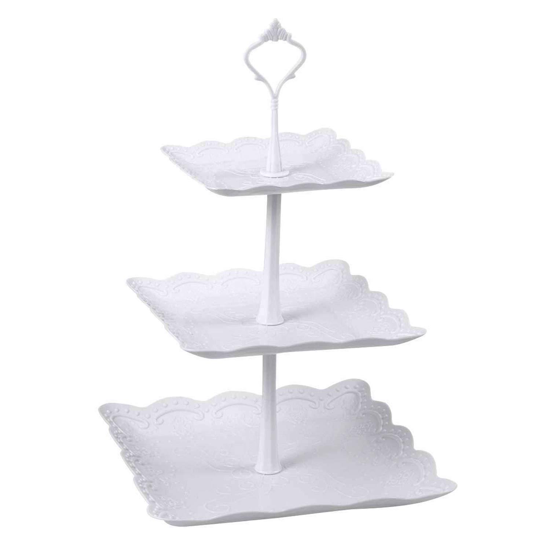 Candora Soporte cuadrado de plástico de 3 niveles para tartas, para fiestas y comida, juego de mesa de postre y servir de pizarra