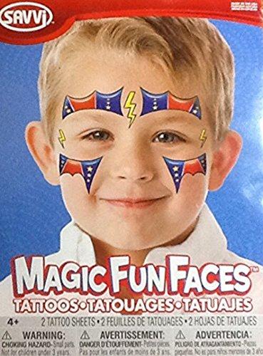 Temporary Tattoos ~ Superhero Magic Fun Faces ~ 2 (Tattoos Superheroes)