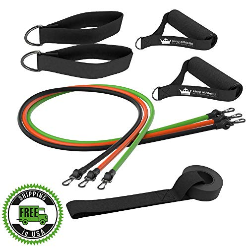 (Resistance Bands with Handles & Door Anchor :: Rubber Stretch Fitness Training Tube Band Set Comes with Leg Straps and Exercise Chart :: 3 Bands Because You Don't need 5 :: Includes eBook)