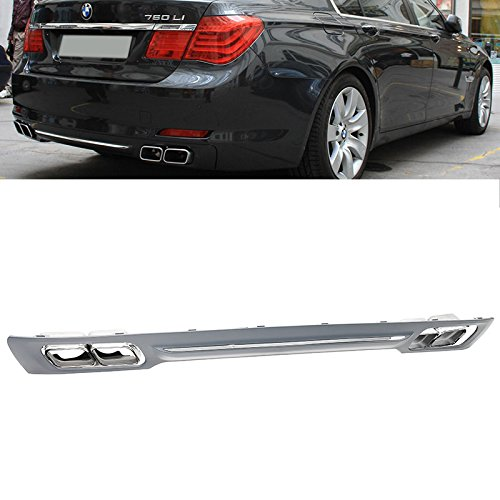 Rear Bumper Diffuser 09-15 BMW 7-Series F01 F02 760 Style with Chrome Trim Tip ()