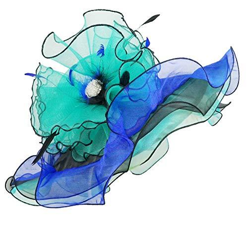 Bellady Women Organza Church Derby Hat Ruffles Wide Brim Summer Bridal Cap,Blue Derby Day Hats,One Size ()