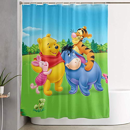 LIUYAN Shower Curtain with Hook - Winnie Pooh Happy Time Waterproof Polyester Fabric Bathroom Decor 60 X 72 Inches