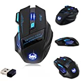 [New Version] Zelotes F14 Professional Blue LED 2400 DPI 9 Buttons USB 2.4G Optical Wireless Gaming Mouse Mice for gamer(Black)