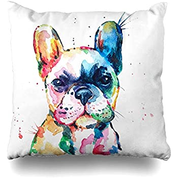DIYCow Throw Pillow Covers Head Frenchie French Bulldog Original Watercolor Dog Wildlife Rainbow Funny Happy Puppy Companion Home Decor Pillowcase Square Size 18 x 18 Inches Zippered Cushion Case