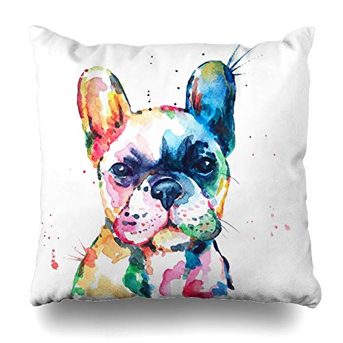 DIYCow Throw Pillow Covers Head Frenchie French Bulldog Original Watercolor Dog Wildlife Rainbow Funny Happy Puppy Companion Home Decor Pillowcase Square Size 16 x 16 Inches Zippered Cushion Case