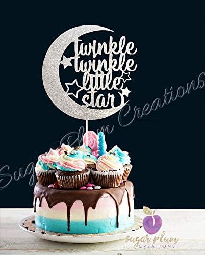 1st birthday acrylic glitter twinkle twinkle little star Silver cake topper