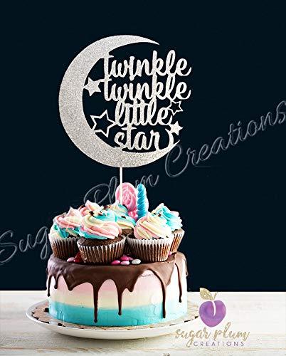 Twinkle Twinkle Little Star Cake Topper Half Moon SILVER