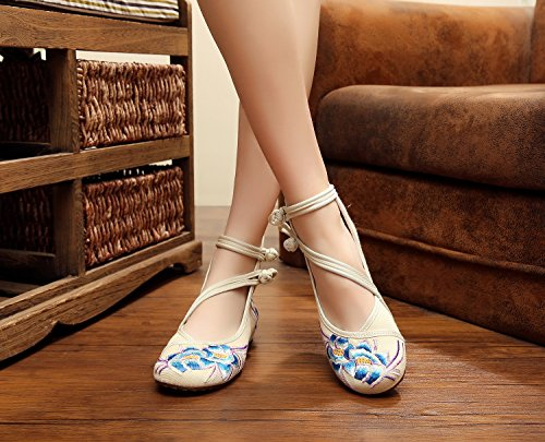 Mode Automne Cheongsam Mary Pour Casual Jane Broderie Floral Beige Flats Chaussures Femmes vwFqrv8U