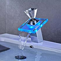 AuraLum Basin LED Faucet Waterfall with Single Handle for Bathroom Vanity Sink, Glass Chrome RGB Mixer, Spout Height