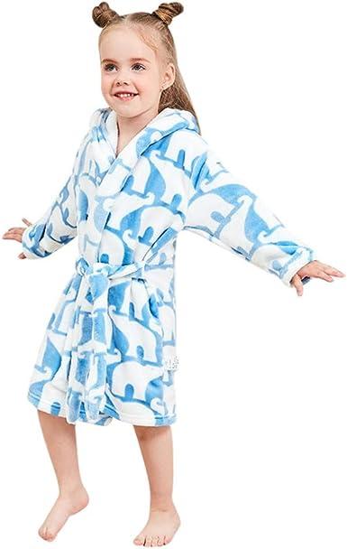KUKICAT Pyjamas Enfant /À Capuche Serviette de Bain Dessin Anim/é Couleur Unie Dentelle Manches Longues Costume de Service /à Domicile Sleepwear