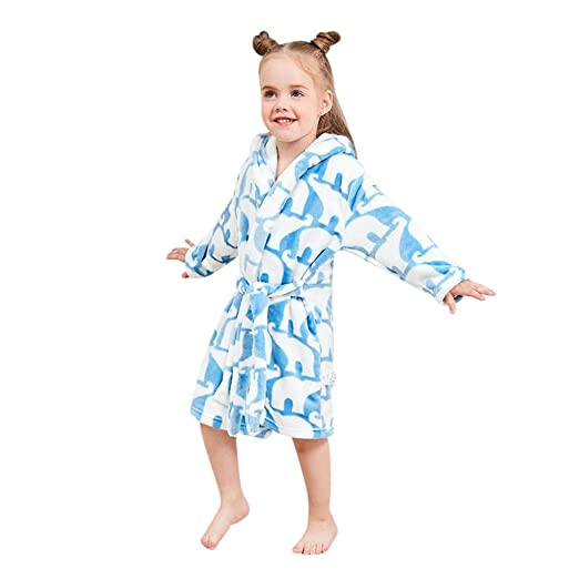 0e4007e781 Amazon.com  Outtop(TM) Baby Boys Girls Flannel Bathrobes - Toddler Kids  Print Hooded Towel Robes Pajamas Night-Gown Clothes  Clothing