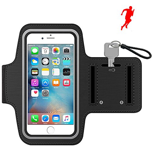 iPhone 8 7 Sport Armband with Reflective Strip Water Resistant Sports Armband 5.5-Inch Touch Screen Smartphones case for Apple iPhone 5/6/7/6 Plus Samsung Galaxy S5/S6/S7/S8 Keychain, Black