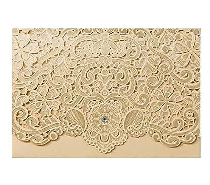 amazon com wishforyou laser cutting gold wedding invitations card