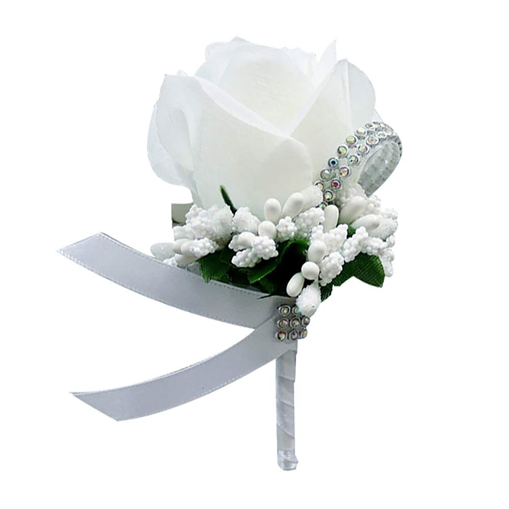 Togethluer Wedding Bridal Groom Bling Rhinestone Corsage,Boutonniere Silk Cloth Rose Flower Corsage White