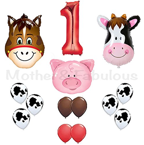 Red Cow Print - first birthday Farm Animal theme Balloons 36