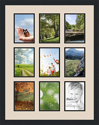 Art to Frames Double-Multimat-1048-825/89-FRBW26079 Collage Photo Frame Double Mat with 9 - 5x7 Openings and Satin Black Frame (9 Frame Opening)