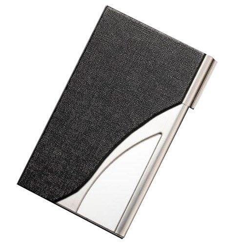 lorje negro piel sintética y acero inoxidable nombre de la empresa titular de la tarjeta caso: Amazon.es: Oficina y papelería
