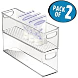 "mDesign Baby Food Kitchen Refrigerator Cabinet or Pantry Storage Organizer Bin with Handles for Breast Milk, Pouches, Jars, Bottles, Formula, Juice Boxes – BPA Free, 16"" x 4"" x 5"", Pack of 2, Clear"