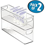 """mDesign Baby Food Kitchen Refrigerator Cabinet or Pantry Storage Organizer Bin with Handles for Breast Milk, Pouches, Jars, Bottles, Formula, Juice Boxes – BPA Free, 16"""" x 4"""" x 5"""", Pack of 2, Clear"""