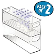 mDesign Baby Food Kitchen Refrigerator Cabinet or Pantry Storage Organizer Bin with Handles for Breast Milk, Pouches, Jars, Bottles, Formula, Juice Boxes – BPA Free, 16  x 4  x 5 , Pack of 2, Clear