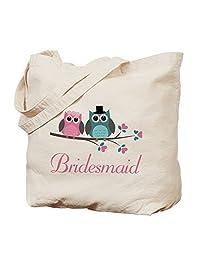 CafePress - Bridesmaid Wedding Owls - Natural Canvas Tote Bag, Cloth Shopping Bag