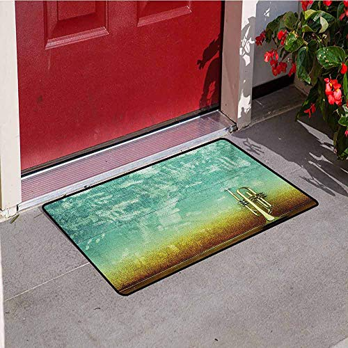 Jinguizi Music Inlet Outdoor Door mat Old Aged Worn Single Trumpet Stands Alone Against a Faded Wall Jazz Theme Photo Catch dust Snow and mud W19.7 x L31.5 Inch Sea Green Brown ()