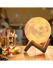 OxyLED Moon Lamp, 16 Colors 4.7 Inch 3D Print LED Moon Light with Stand Remote Touch Tap Control and USB Rechargeable, Night Light Dimmable for Kids Lover Friends Birthday Gifts