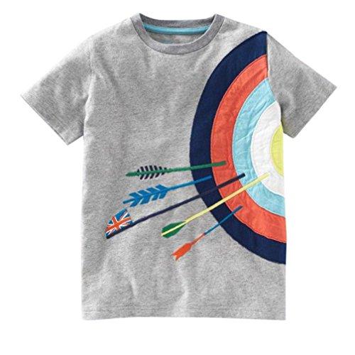 Cartoon Baby T-shirt - JPOQW Toddler Kids Boys Short Sleeve Cartoon Print Tops T-Shirt Blouse (Gray, 24 Months)