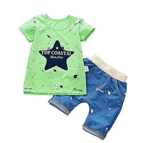 Leoie Kids Boys Casual Short Sleeve T-Shirt Shorts Set Inkjet Five-Star Green - 110 Inkjet
