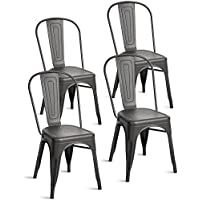 Merax Indoor-Outdoor Use Tolix Style Metal Bistro A Dining Side Chair Stackable Highback Chic Cafe Side Chair Set of 4, (Matt Black Grey)