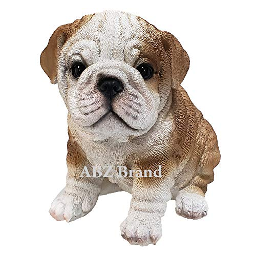 Adorable Wrinkled English Bulldog Puppy Red White Bully Statue Glass Eyes ()
