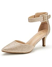 DREAM PAIRS LOWPOINTED New Women's Evening Dress Low Heel Ankle Strap D'Orsay Pointed Toe Wedding Pumps Shoes