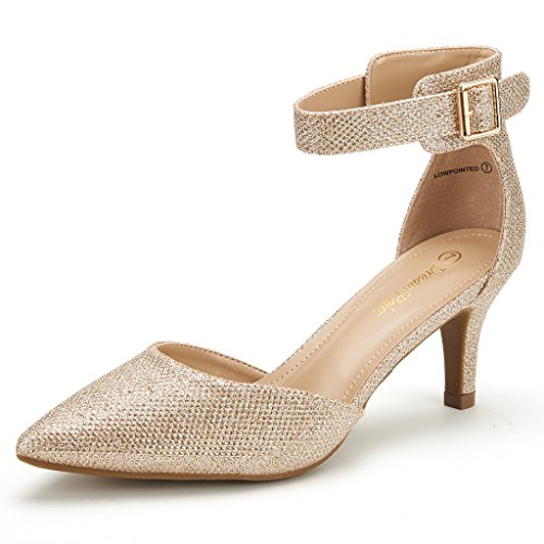 - DREAM PAIRS Women's Lowpointed Gold Glitter Low Heel Dress Pump Shoes - 8 M US