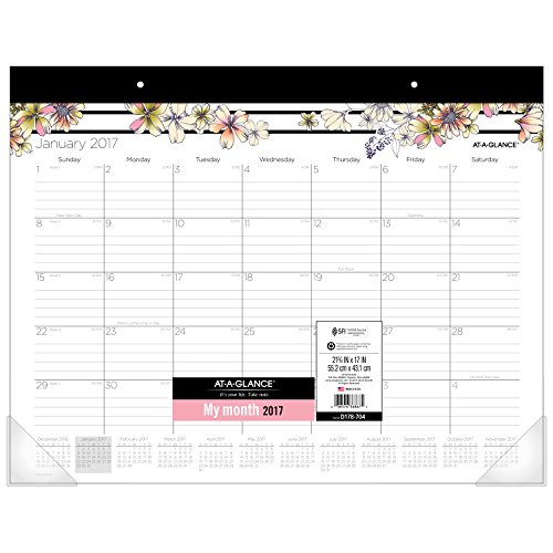"AT-A-GLANCE Desk Pad Calendar 2017, Monthly, 21-3/4 x 17"", Ruled Blocks, Monique (D178-704)"
