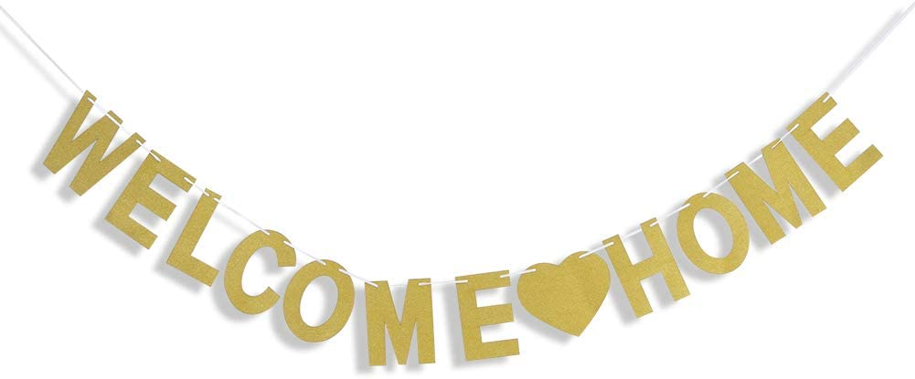 Welcome Home ZERHOK Welcome Home Banner Gold Glitter Welcome Back Garland Housewarming Decoration Bunting for Family Party Decor Photo Prop