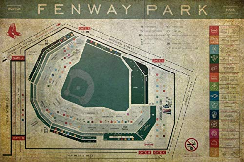 Fenway Park Blueprint Seating Chart - Vintage Fenway Poster - Choose PRINT or CANVAS ()