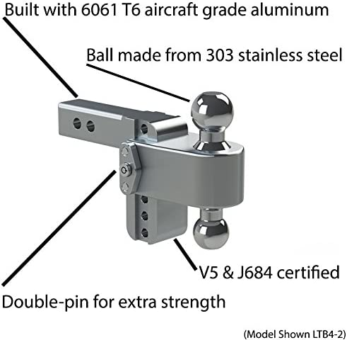 Stainless Steel Combo Ball Keyed Alike Key Lock and Hitch Pin 2 /& 2-5//16 Weigh Safe LTB6-3-KA 6 Drop 180 Hitch w// 3 Shank//Shaft Adjustable Aluminum Trailer Hitch /& Ball Mount